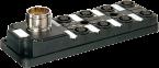 Moduł pasywny, 8xM12, 4-polowy, wyjście konektora z przodu
