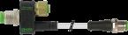 Trójnik M12 męski, 5-polowy - M12 żeński, 8-polowy + M12 męski, prosty,