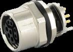 M12 female receptacle 0° Y-cod. solder terminal