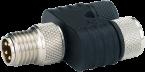 Trójnik Nano M8 męski, 4-polowy - 2xM8 żeński, 3-polowy