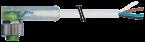 Konektor M12 żeński, kątowy z LED, z wolnym końcem przewodów