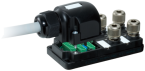 Passive-distr. plastic,4xM12,Harax,pluggable cable