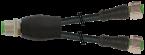 Konektor-trójnik M12 męski - M12 żeński, prosty