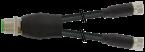 Konektor-trójnik M12 męski - 2xM8 żeński, prosty
