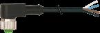 Konektor M12 żeński, kątowy z wolnym końcem przewodów