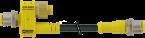 Trójnik M12 męski, 4-polowy - M12 męski, 2-polowy + M12 żeński, 8-polowy