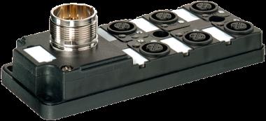 Moduł pasywny, 6xM12, 4-polowy, wyjście konektora z przodu