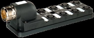Moduł pasywny, 8xM12, 5-polowy, wyjście konektora 90°