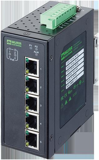 5 Port unmanaged Gigabit Switch 4 PoE Ports IP20 metal 48 V