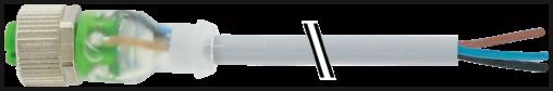 Konektor M12 żeński, prosty, z LED